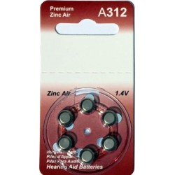6 Hearing Aid Batteries A312