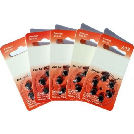 5 Pack of 6 Hearing Aid Batteries A13