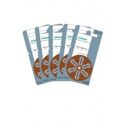 5 Packs of 6 Hearing Aid Batteries Siemens S312