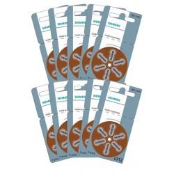 10 Packs of 6 Hearing Aid Batteries Siemens S312
