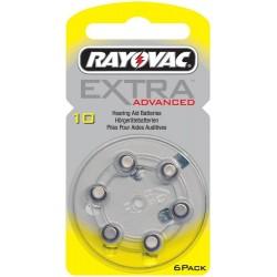 6 Hearing Aid Batteries Rayovac Advanced EXTRA 10