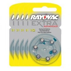 5 packs of 6 Hearing Aid Batteries Rayovac Advanced EXTRA 10