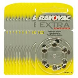 10 blister van 6 Hoorbatterijen Rayovac Advanced Extra 10