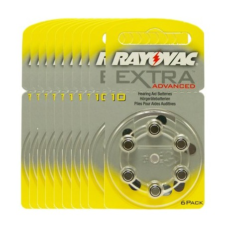 Pack de 10 x 6 Piles auditives Rayovac Extra Advanced 10