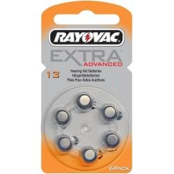 6 Hearing Aid Batteries Rayovac Advanced EXTRA 13