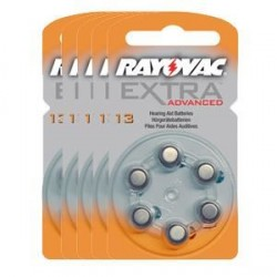 5 Packs of 6 Hearing Aid Batteries Rayovac Advanced EXTRA 13