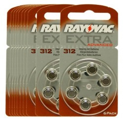 Pack de 10 x 6 Piles auditives Rayovac Extra Advanced 312