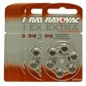 10 blister van 6 Hoorbatterijen Rayovac Advanced Extra 312