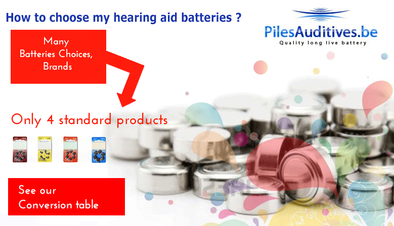 How to choose my hearing aid batteries zinc air hearing aid for my Many choices, brands, Only 4 standard products See our conversion table